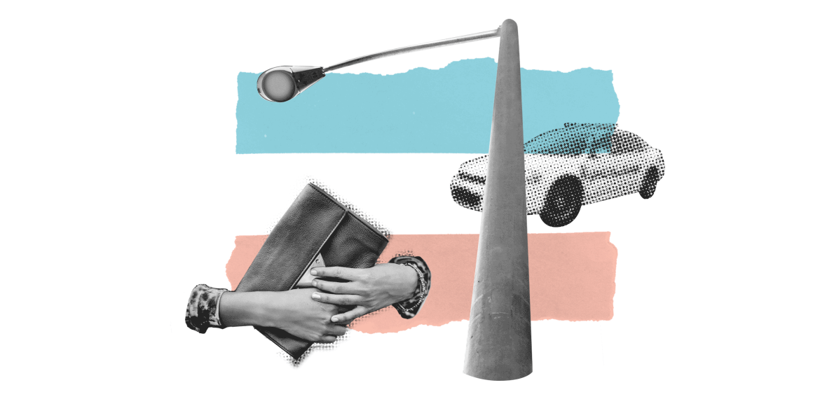 police car streetlight and purse on a trans flag background