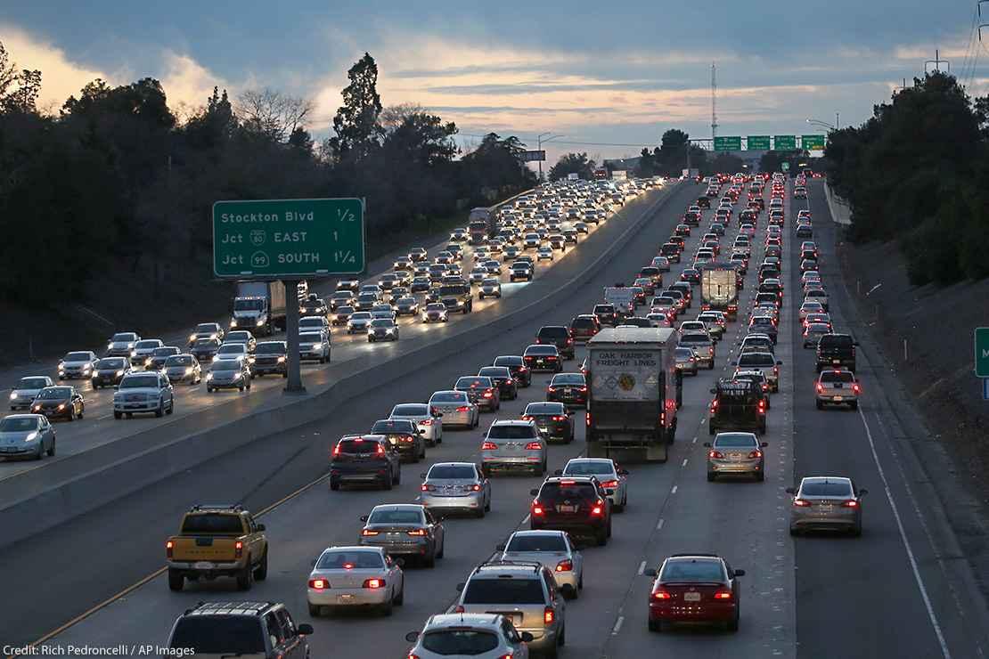 Evening rush hour traffic fills Highway 50 in Sacramento, California