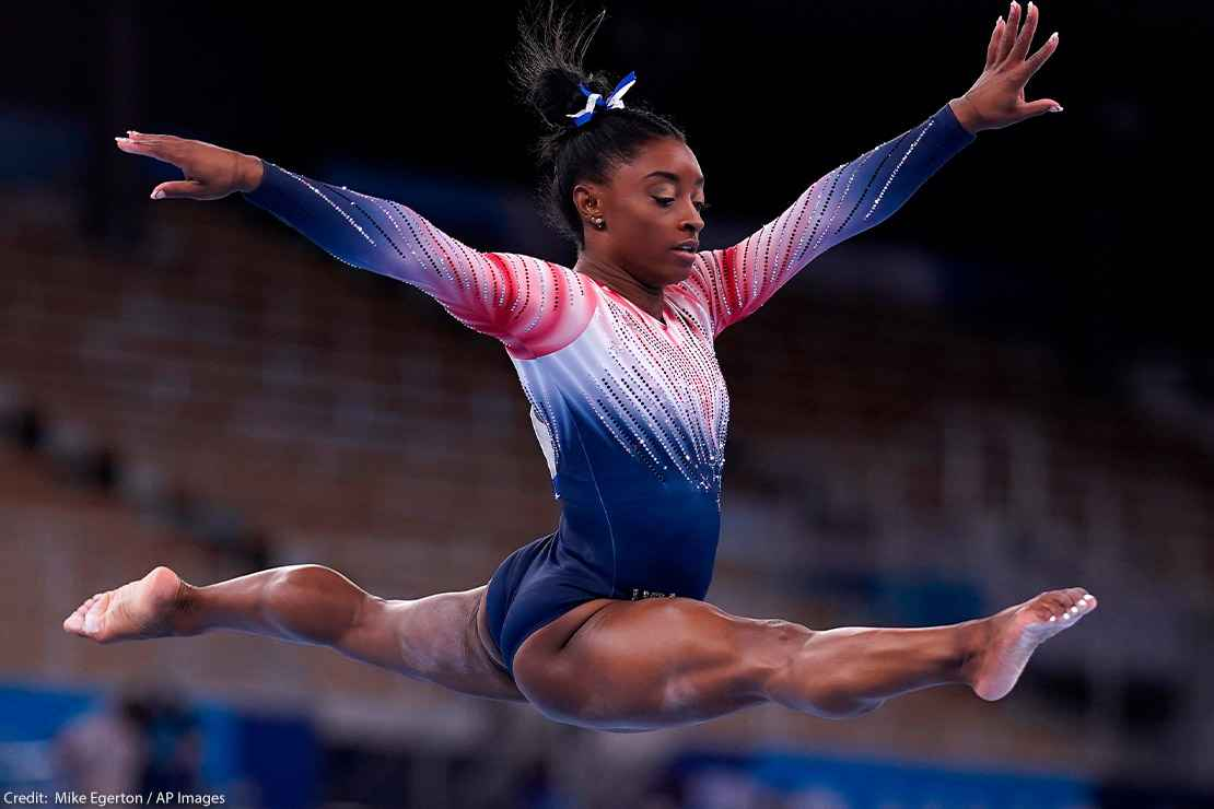 USA's Simone Biles in the Women's Balance Beam Final at Ariake Gymnastic Centre on the eleventh day of the Tokyo 2020 Olympic Games in Japan.
