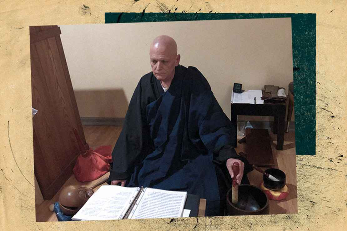 Reverend Seigen Hartkemeyer Zen Buddhist Priest with book