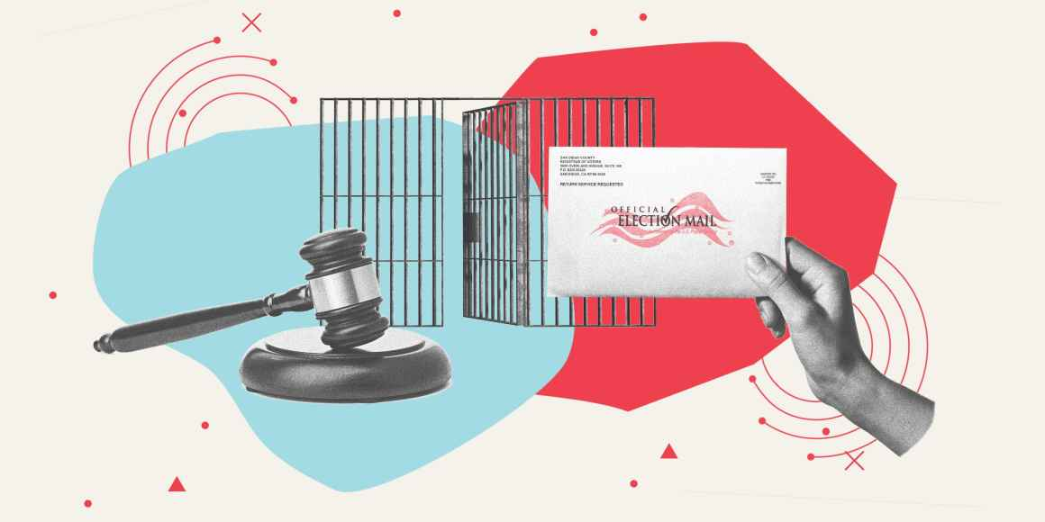 Collage by the ACLU, picturing a judge's gavel, a voting mail envelope, and a cage.