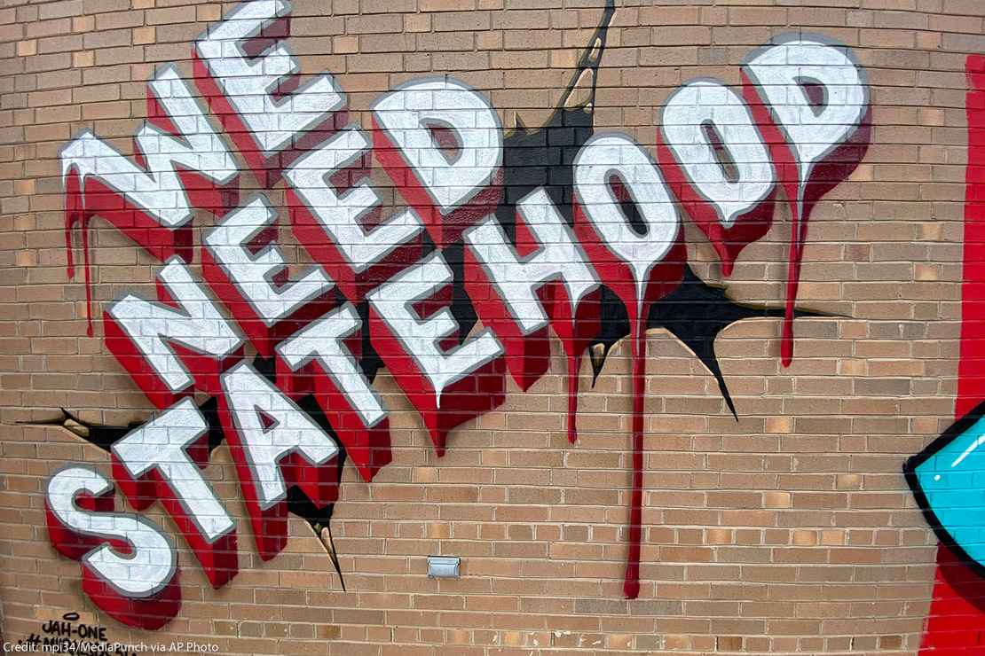"""Mural reads """"We Need Statehood"""" as part of Washington DC Mayor Muriel Bowser's commissioned #MuralsDC51 project across the city"""
