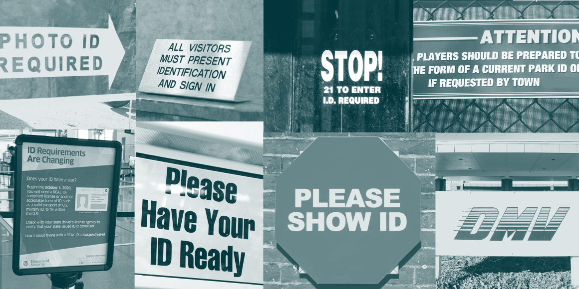 """A collage of signs that read """"Please Show Your ID"""" and """"Please have your ID ready"""""""