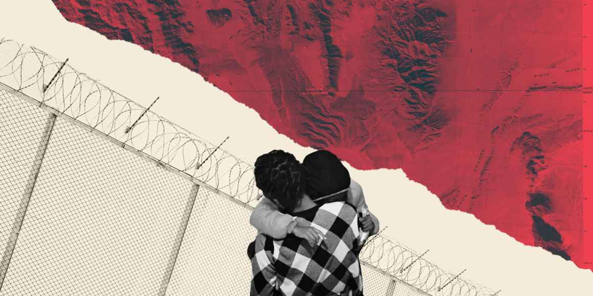 A collage of a black-and-white image of two people hugging, overlaying a beige and red background with a barbed wire gate behind the people. This image depicts the difficulties of family separation policies that have come from the Trump administration.