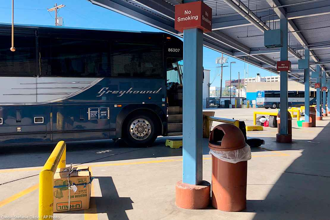 A Greyhound bus parked at a Los Angeles Greyhound bus station. Greyhound has denied the Customs and Border Protection (CBP) officers access to buses to conduct warrantless searches.