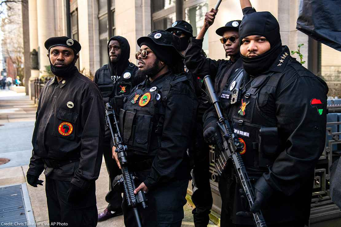 Members of the New Black Panthers attend a second amendment rally at the Virginia State Capitol in January 2021