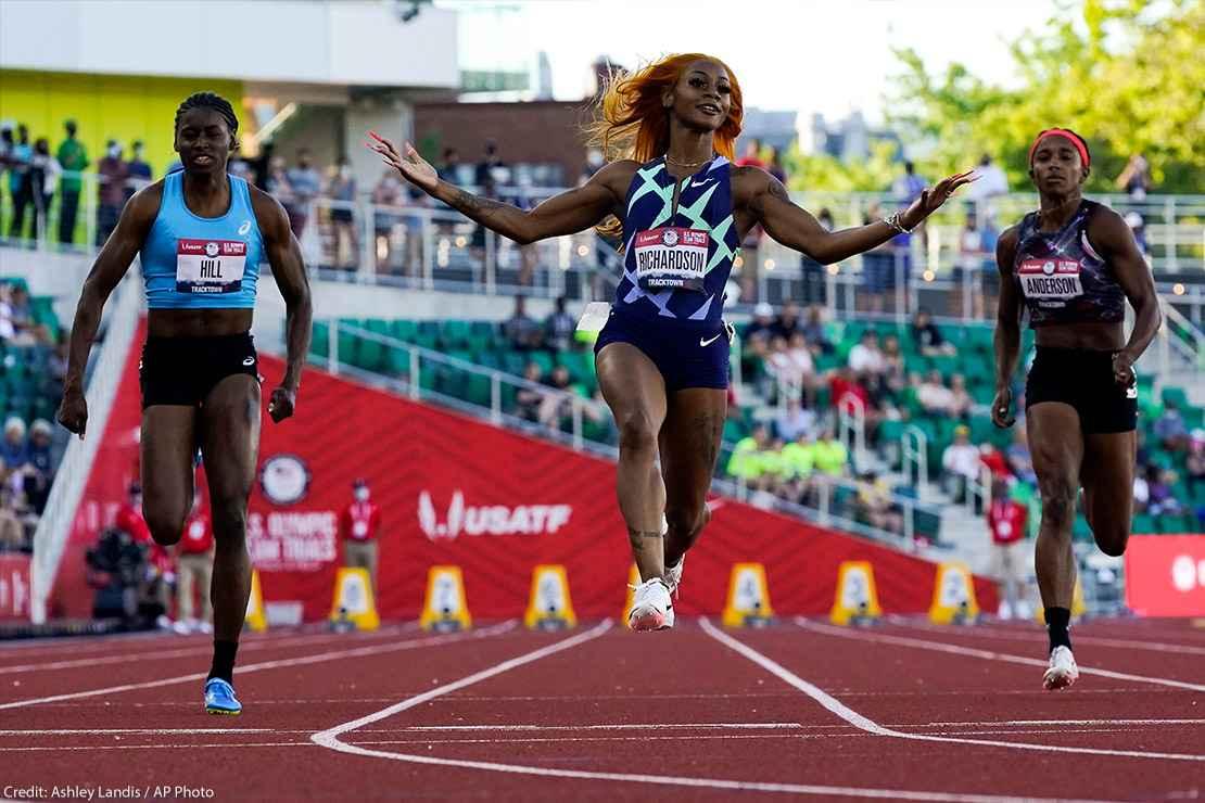 Sha'Carri Richardson celebrates after winning during fourth heat at Olympics 2021