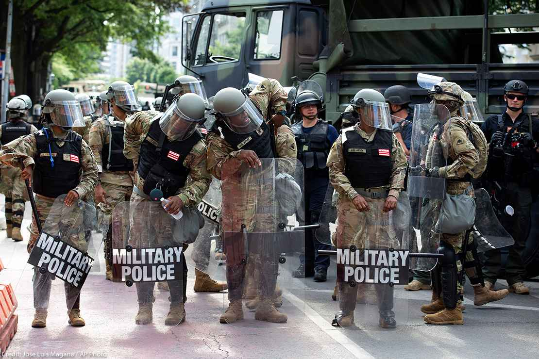 Military police secure a perimeter near to the White House, Wednesday, June 3, 2020 in Washington, during a protest over the death of George Floyd
