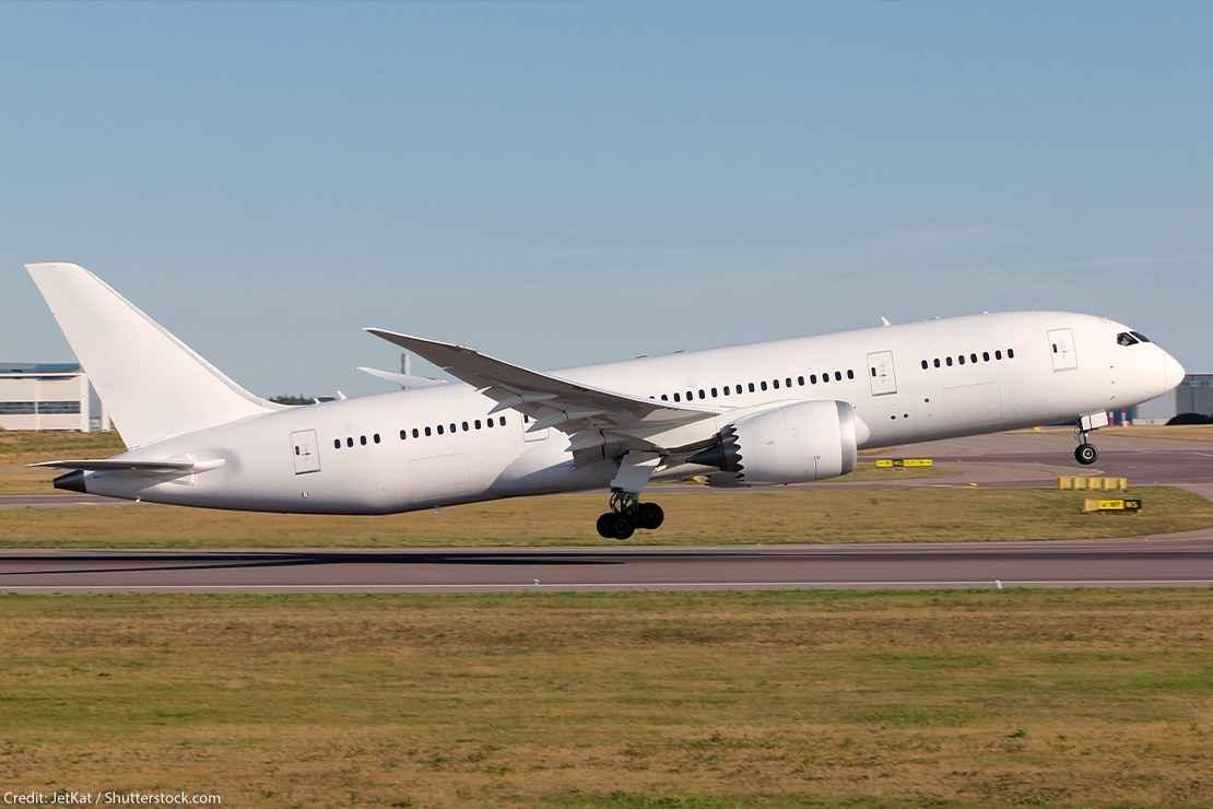 A big passenger airplane taking off.