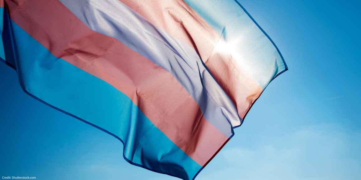 Trans pride flag on blue sky