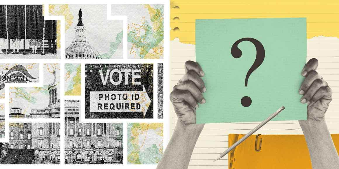 A collage banner that reflects voting rights imagery and a quiz question ard