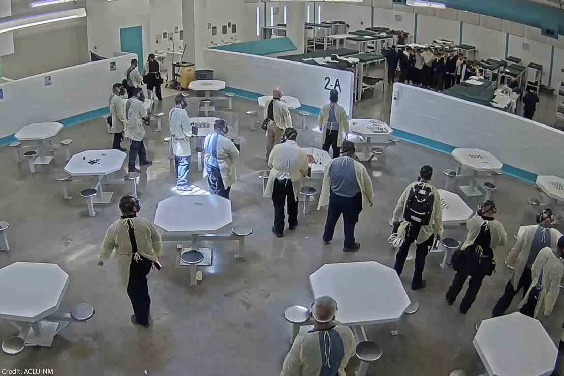 A screenshot of surveillance video taken shortly before men detained at the Torrance County were pepper-sprayed for engaging in a peaceful hunger strike