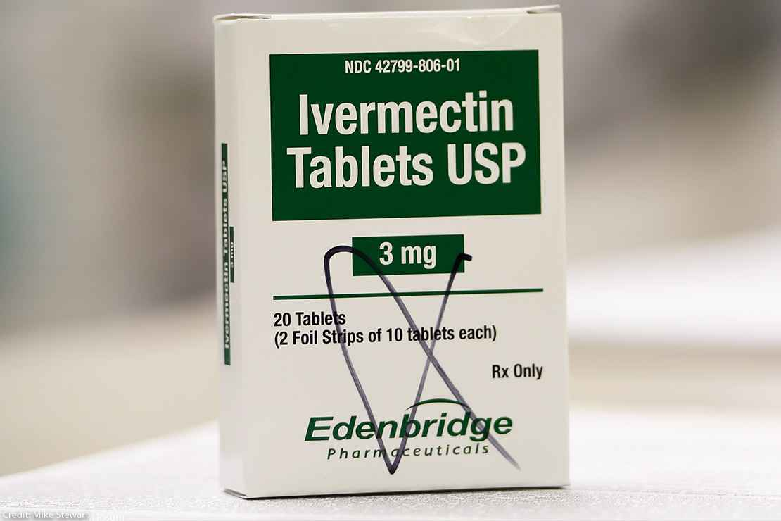 A box of ivermectin is shown in a pharmacy.
