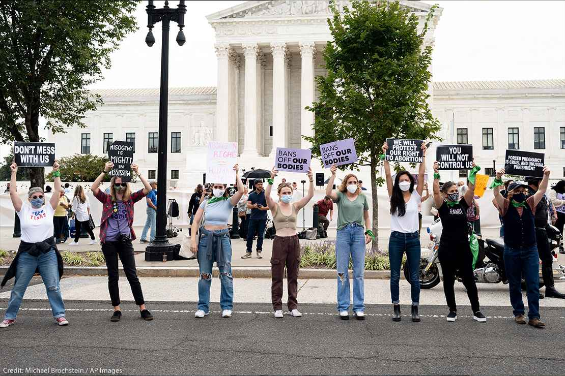Women protesting abortion bans.