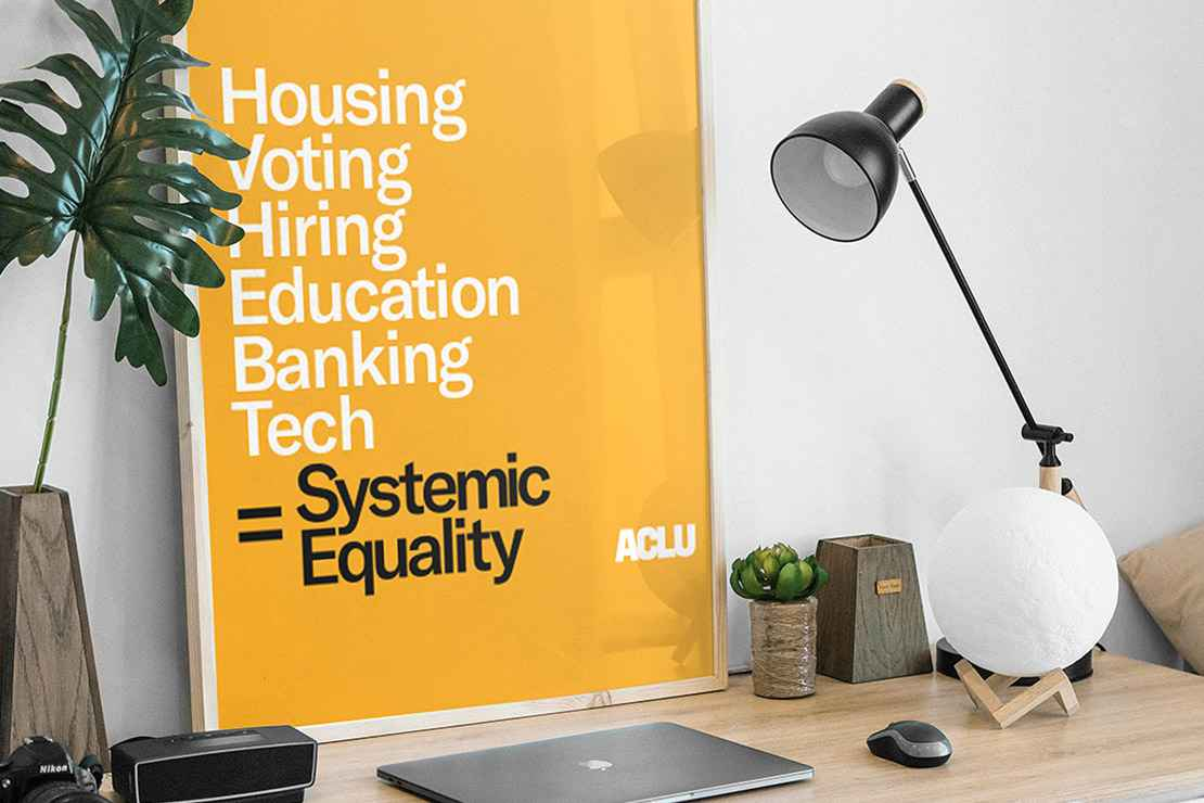 A picture of ACLU's systemic equality poster framed and placed on top of a desk.