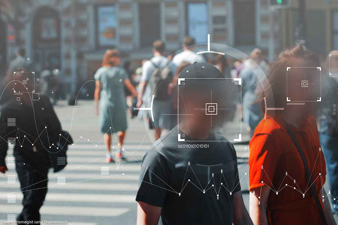 Face recognition and personal identification technologies in street surveillance cameras covering people's faces.