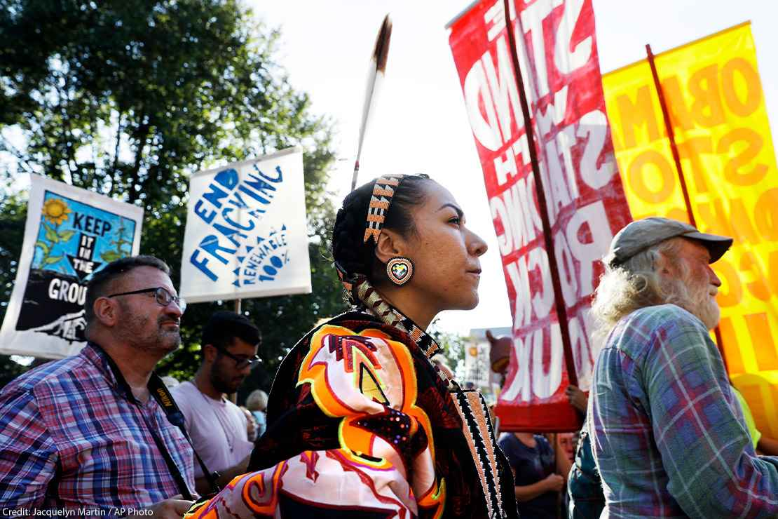 Angela Miracle Gladue, center, a member of the Frog Lake First Nations, attends a rally in support of the Standing Rock Sioux Tribe near the White House