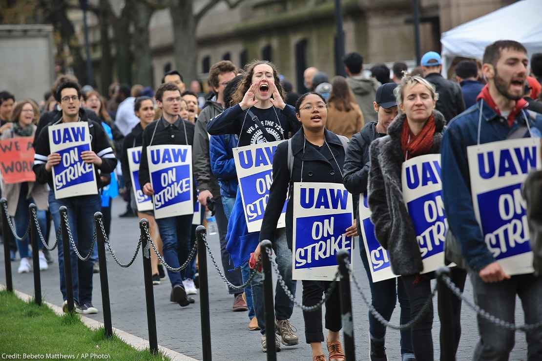 Striking teaching assistants protest on the campus of Columbia University in New York.