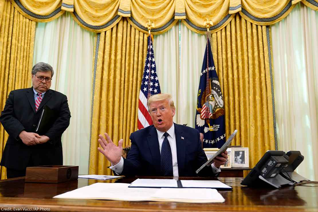 President Donald Trump speaks before signing an executive order aimed at curbing protections for social media giants, taken in the Oval Office of White House