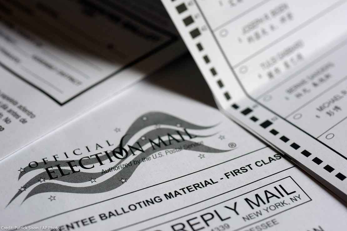 Photo showing a mail-in Official Absentee Ballot.