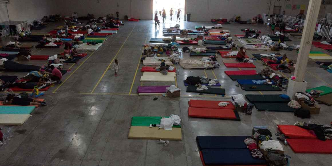 General view inside the Leona Vicario Federal shelter for asylum seekers in Ciudad Juarez on October 9, 2019, Chihuahua state, Mexico