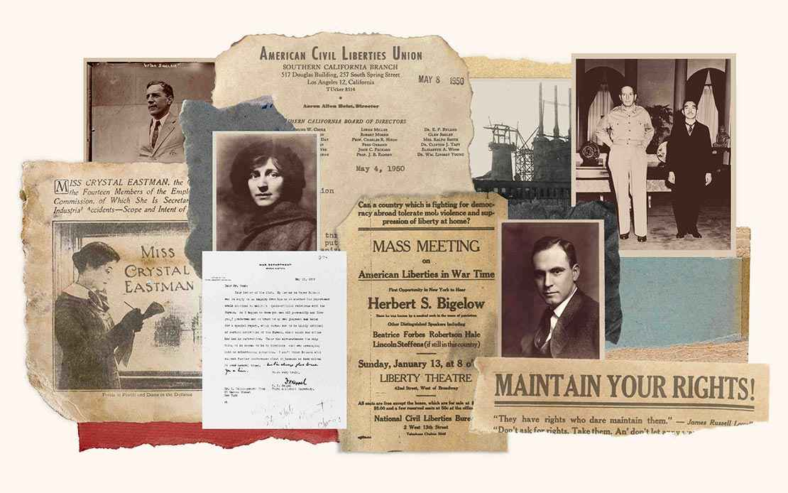 Collage of images from the founding decades of the ACLU including photos and newspaper headlines