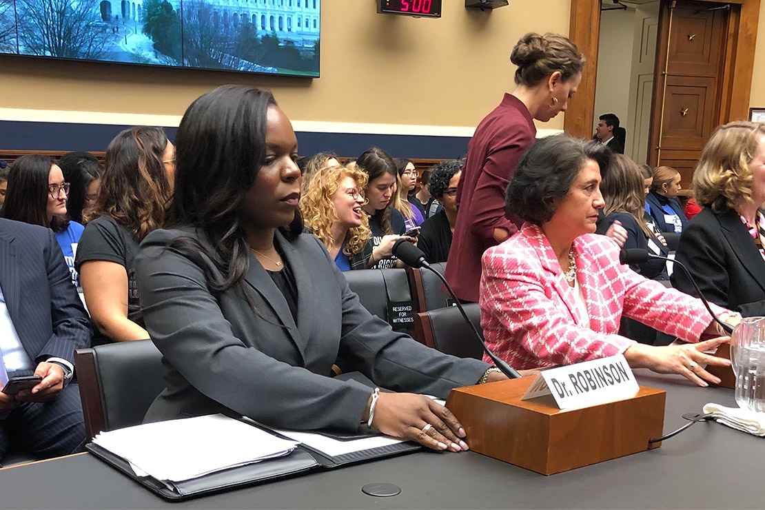 Dr. Yashica Robinson testifying on Capitol Hill in support of the Women's Health Protection Act.