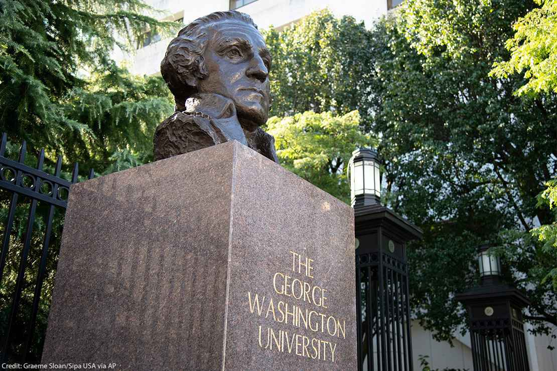 A bust of George Washington at a gate at The George Washington University (GWU) campus in Washington, D.C.