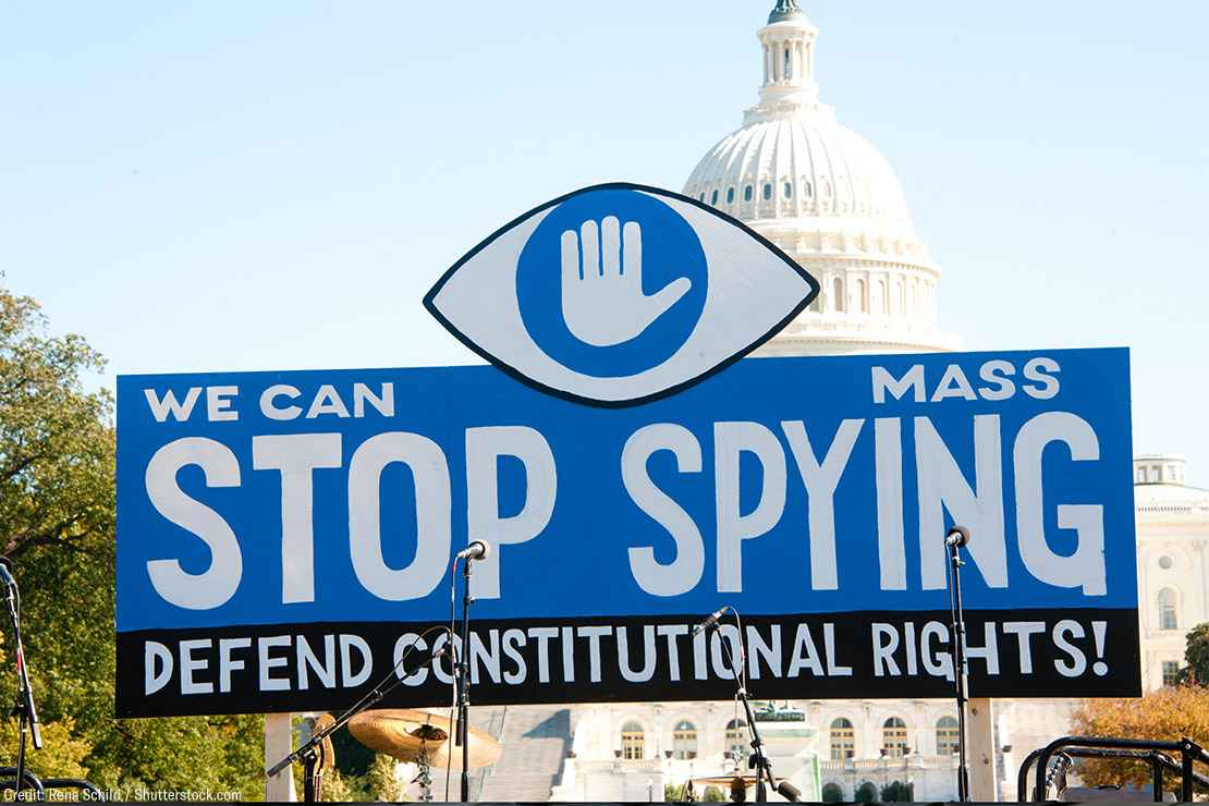 """A sign with the text """"We can stop mass spying, defend constitutional rights!"""" at a rally outside the US Capitol building."""