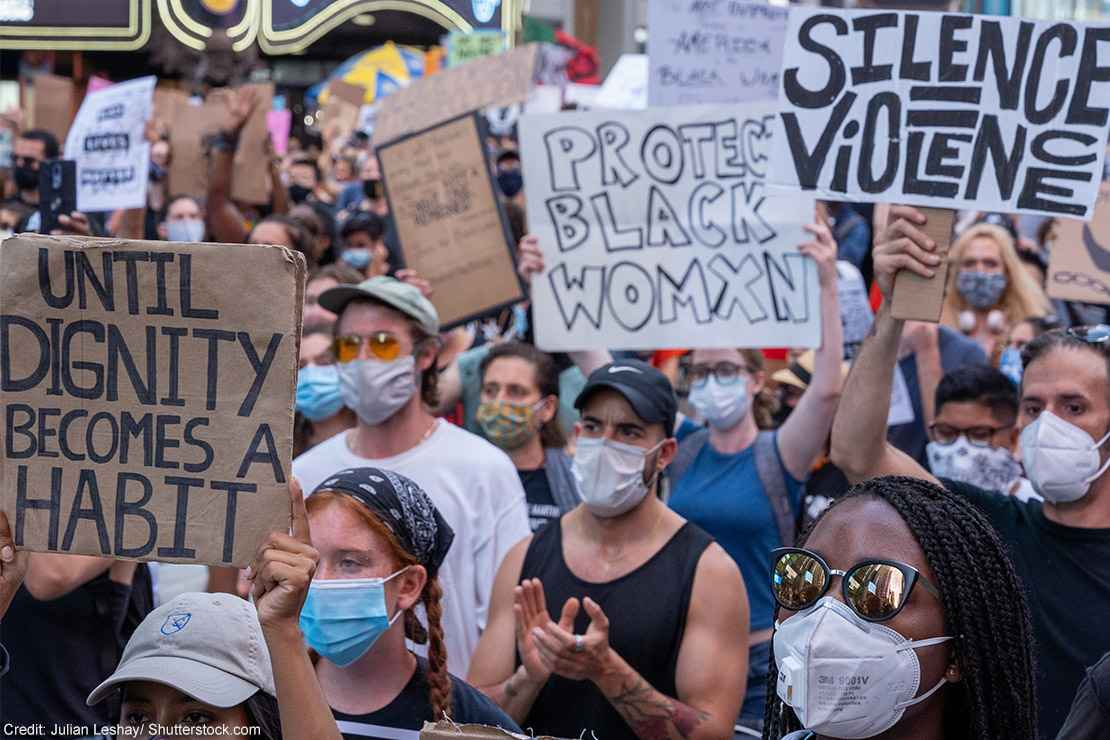 Demonstrators at a protest march.