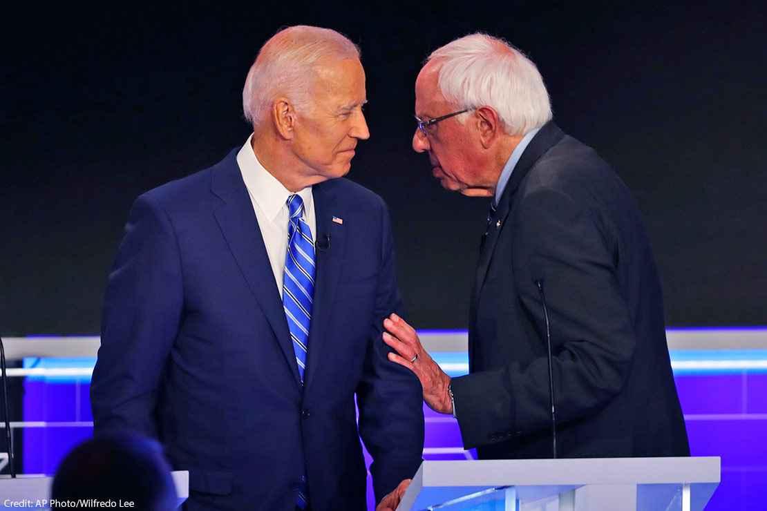 Joe Biden and Bernie Sanders are shown at the Democratic Debate