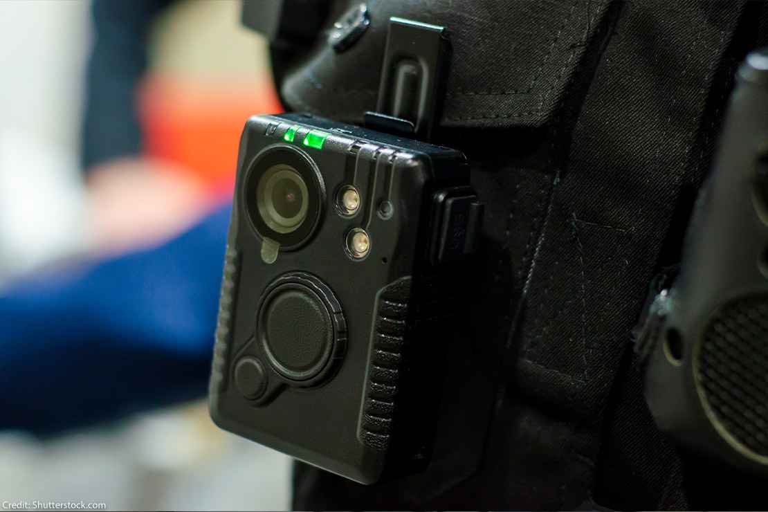 A police body camera is shown