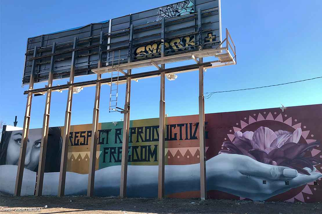 """A mural with the text """"Respect Reproductive Freedom."""""""