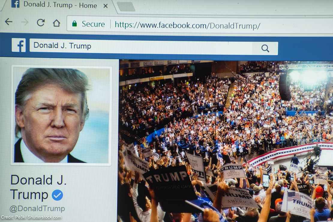 Donald Trump's Facebook profile on a web browser.