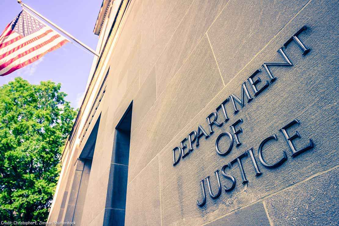 he northern facade of the Department of Justice building in the Nation's capital .