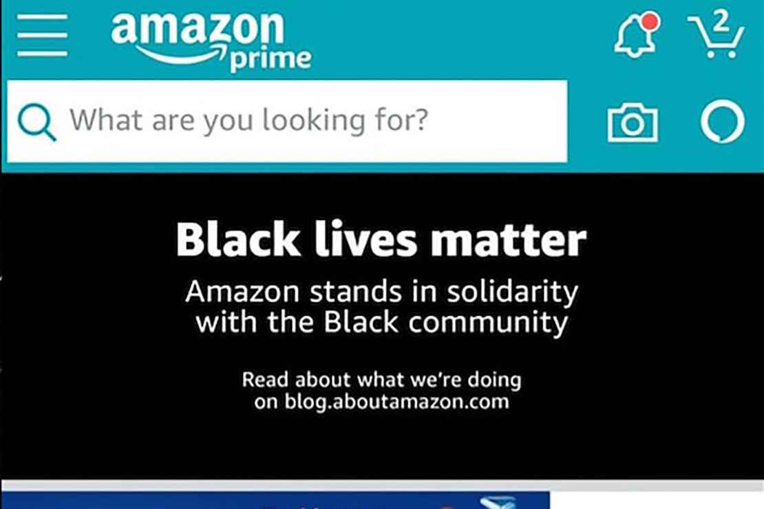 A screenshot of the Black Lives Matter banner on the Amazon homepage