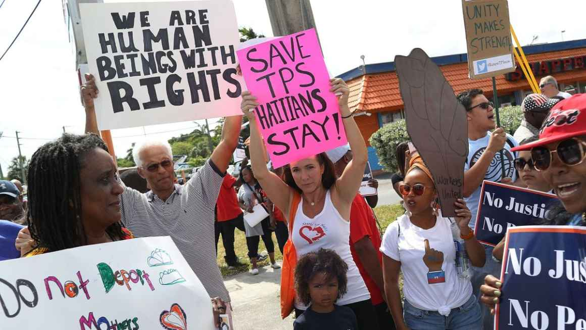Residents protesting against former President Donald Trump administration's cut-off of Temporary Protected Status in November 2018. Photo via Haiti Liberte.jpeg