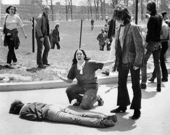 John Filo photograph of Miami teen runaway Mary Ann Vecchio, 14, at Kent State University in Kent, Ohio, Monday, May 4, 1970.