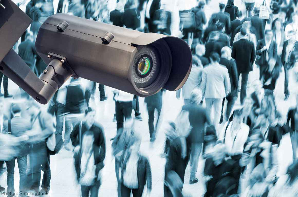 A surveillance camera over a crowd