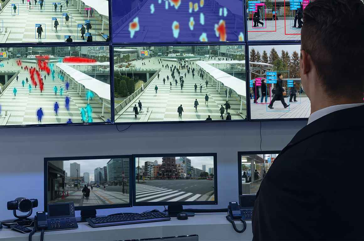 Screens with AI assisted analysis and surveillance of individuals