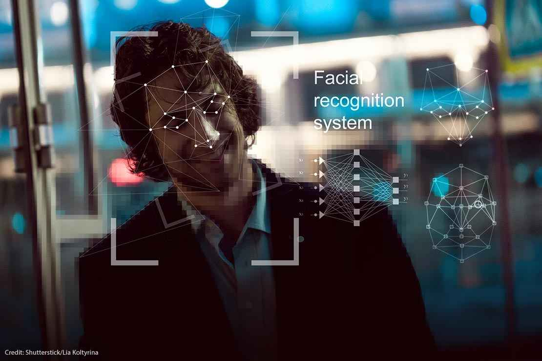 A mockup image of how a computer scans a human face for facial recognition
