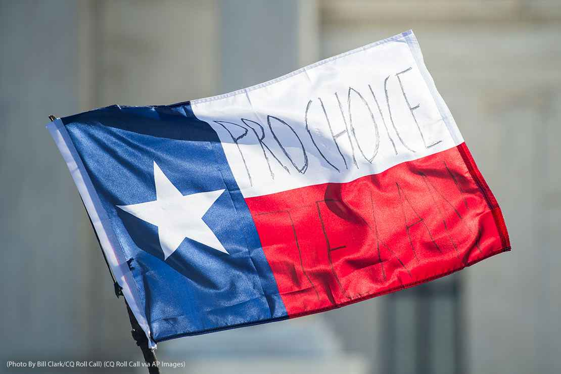 The flag of Texas with Pro Choice Texan written upon it