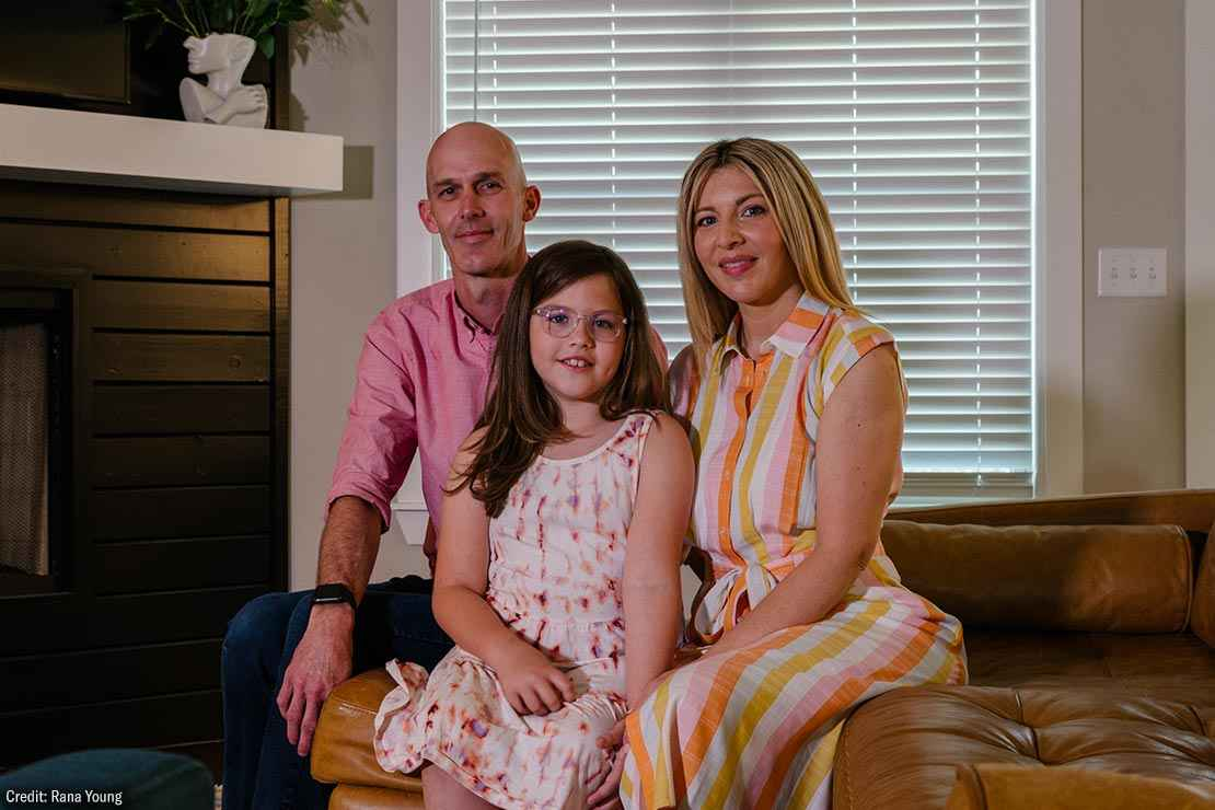Brook Dennis, a 9-year-old transgender girl in Arkansas, is seen with her parents