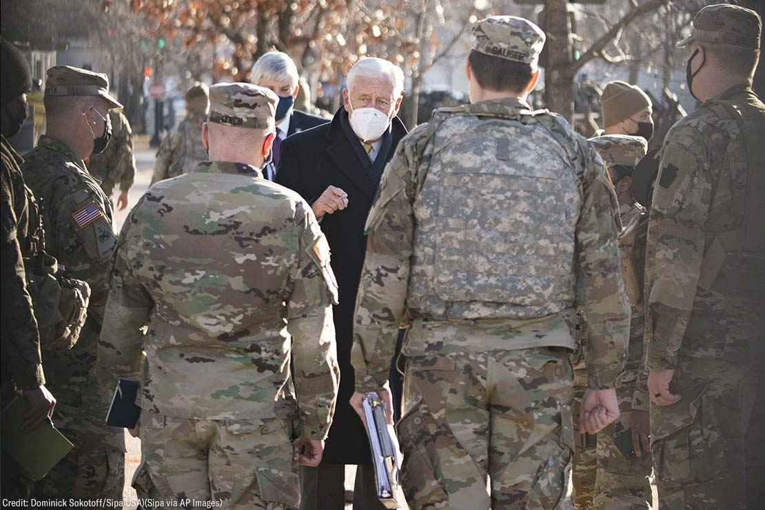 House Majority Leader Steny Hoyer, D-Md., speaks to members of the National Guard outside the U.S. Capitol in Washington, D.C. on January 21, 2021.