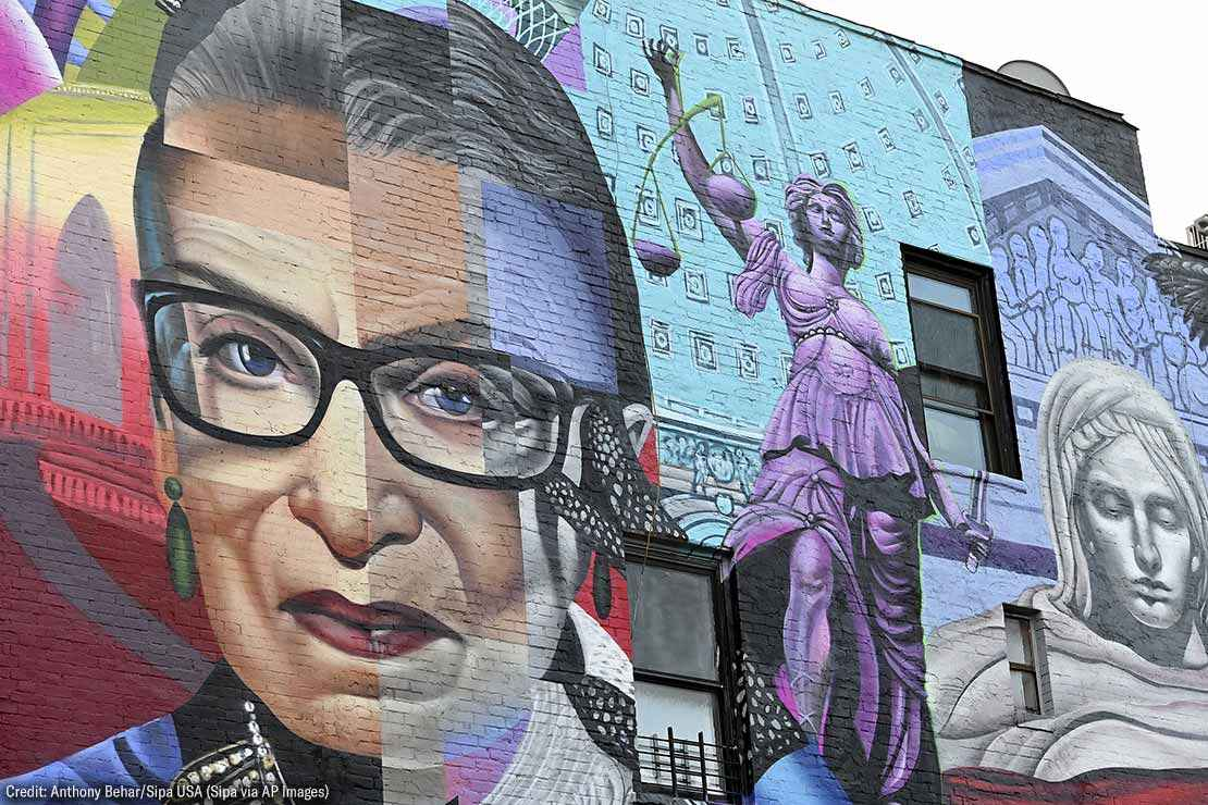 A mural of the late Supreme Court Justice Ruth Bader Ginsburg is seen at the corner of First Avenue and East 11th Street in The East Village, New York, NY, November 19, 2020.