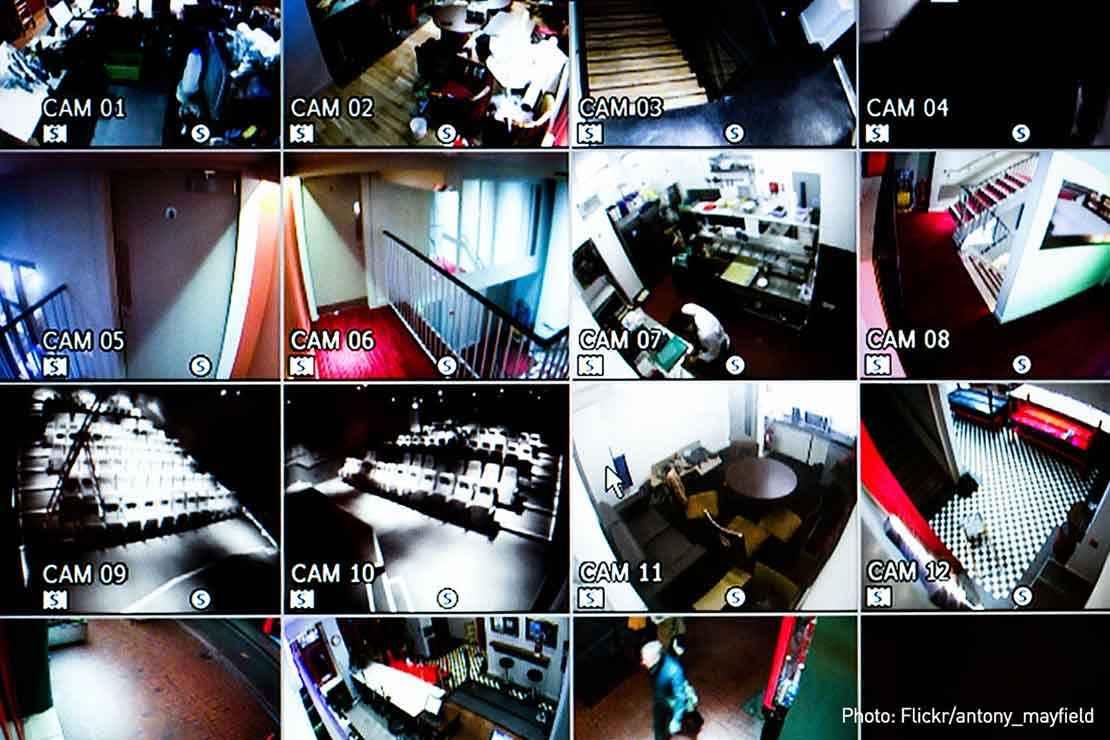 Image of surveillance camera feeds