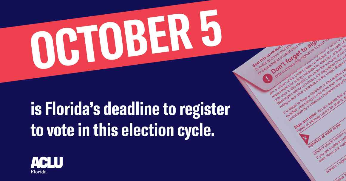 Last day to register in Florida for the general election
